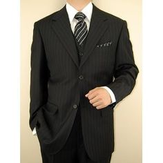 Click on the image for more details! - Italian Two Button Vested 3 Piece Mens Suits Merino Wool Business Suit for Year Round USE Black Stripe (Apparel)