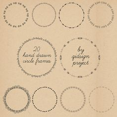 20 hand drawn circle frames - doodle round borders -- digital frames clipart- personal and commercial use- instant download on Etsy, $3.50
