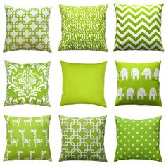 Green Euro shams add a decorative touch to any size bed! This european sham features the shades of chartreuse and white. Choose from many different decorative throw pillow choices!  Pillow Case Features: • Made to fit a 26x26 pillow insert • Colors: chartreuse green and white • Fabric: 100% Cotton, medium-weight fabric • Same fabric on front and back, pattern lines up on all sides, inside edges are serged to prevent fraying • Zippered Pillow - Hidden zipper closure • PILLOW INSERT NOT…