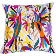 GORGEOUS! Multi-Colored Hand Embroidered Otomi Pillow Cover