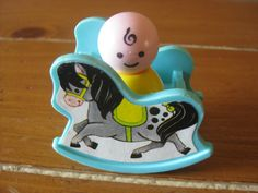Vintage Fisher Price Little People Baby and Rocking horse