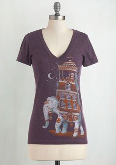 Trunk Show Treasure Tee. This Saturday, throw on a fab pair of dark skinnies, an oversized, shawl-neck cardigan, and this playful tee, and go check out that trunk show. #purple #modcloth