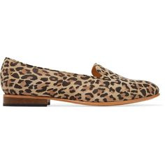 Dieppa Restrepo - Dandy Leopard-print Suede Loafers ($135) ❤ liked on Polyvore featuring shoes, loafers, leopard print, slip-on loafers, suede slip on shoes, slip-on shoes, leopard print shoes and low heel shoes