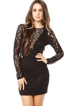 ShopSosie Style : Black Veil Lace Dress