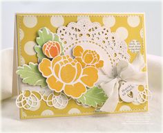 Debbie Olsen-Hello! Tonight I have another thank you card to share with you. For this one I chose Papertrey Ink's new Rosie Posie set for my focal image and Tiny Tags 2 for the thank you sentiment. I inked the roses in Summer Sunshine and the small one with a bit of Melon Berry as well. Greenery is stamped in Spring Moss ink.
