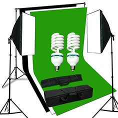 Black Green White three Backdrops and 1250W Softbox Continuous Lighting Equipment Kit Portable Photo Studio with 5500K Lamp Bulbs + Free Heavy Duty Carry Bag