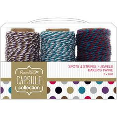 Papermania Spots/Stripes Jewels Bakers Twine 3/Pkg-3 Colors, 20 Meters Each
