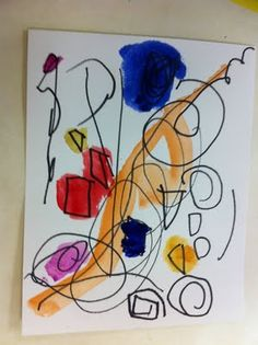 In the morning class I had the children make abstract shapes with a sharpie and then watercolor.
