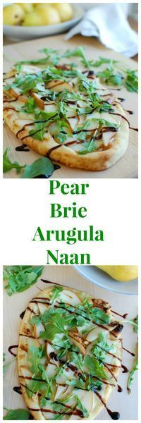 Warm Pear Brie Arugala Naan is the perfect holiday appetizer that will impress your guests. This beautiful flatbread is warmed in the oven with brie cheese and pear and then topped with arugula and a drizzle of balsamic glaze.   // A Cedar Spoon
