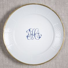 "WEAVE 24K GOLD RIMMED 10.75"" DINNER PLATE WITH MONOGRAM AND OPTIONAL BACK INSCRIPTION- 5 colors & 3 fonts available - Sasha Nicholas"