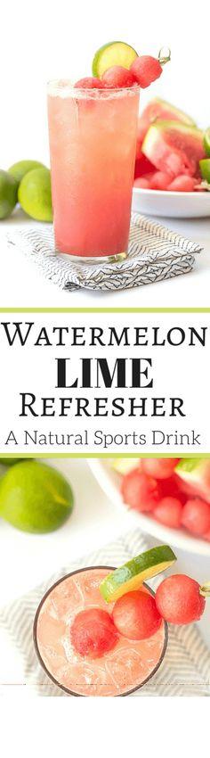 Watermelon Lime Refresher - A natural sports drink! | wickedspatula.com