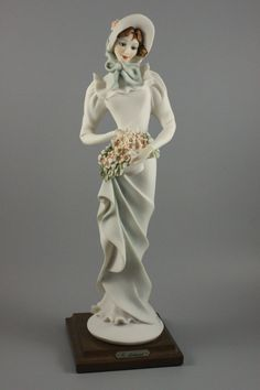Giuseppe Armani Figurine Lady with Basket of Flowers