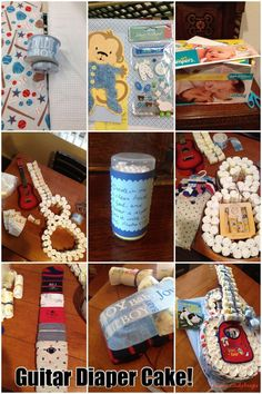 How-to: Make a Guitar Diaper Cake! Welcome baby adorable guitar diaper cake! Such an awesome baby shower gift and so fun to make! I made this using two receiving blankets, the diaper box, and supplies as shown. Baby Shower Gift Bags, Baby Shower Deco, Best Baby Shower Gifts, Baby Shower Diapers, Baby Boy Shower, Unique Diaper Cakes, Diy Diaper Cake, Diaper Crafts, Nappy Cakes