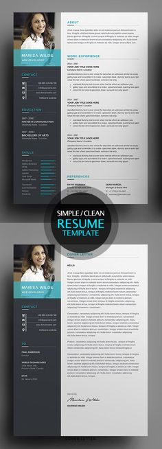Clean Resume/CV Template 2018 #photoshopresume #resumetemplate #wordresume #cvresume #resumedesign #minimalresume #cleanresume #resumedownload
