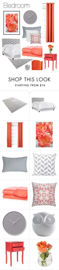 """""""Coral. Grey. Bedroom."""" by theartbug-home on Polyvore featuring interior, interiors, interior design, home, home decor, interior decorating, Sun Zero, Charisma, New Directions and Amy Sia"""