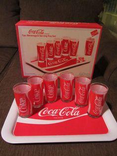 1984 Coca-Cola 7 Piece Beverage & Serving Tray Set - NIB (Never used) picclick.com