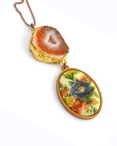 This stunning one of kind unique pendant - made from an upcycled deadstock vintage cabochon combined with a orange geode agate slice . The pale center features a stunning recession that is full o... Happy Colors, Orange, Yellow, Daisies, Vintage Floral, Agate, Upcycle, Sunshine, Pendants