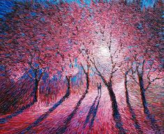 Blossoming Your Paintings, Paintings For Sale, Original Paintings, Impressionist Paintings, Landscape Paintings, Painting Gallery, Art Gallery, Cherry Blossom Painting, Palette Knife Painting