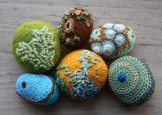 the gathering grows.  felted stones by Lisa Jordan