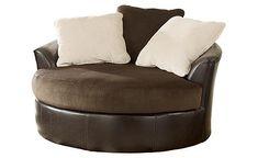 Victory - Chocolate Oversized Swivel Chair