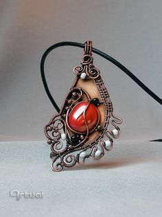 Artistic jewelry necklace, wire wrapped vermillion glass cabochon pendant, copper sheet, garnet beads, gift for women