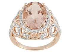 4.40ct Oval Cor-de-rosa Morganite(Tm) With .09ctw Round White Diamond 10k Rose Gold Ring