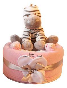 Baby girl zebra nappy cake baby shower gift www.CoochyCooNappyCakes.co.uk