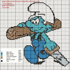 Handy Smurf - counted cross stitch pattern