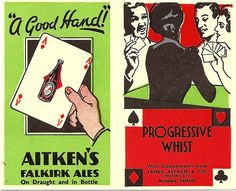 """""""A good hand!"""" - whist card advert for Aitken's Falkirk Brewery, c1935"""