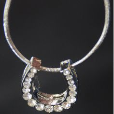 Horseshoe necklace pendant with crystals