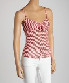 Red & Sheer Stripe Camisole | zulily