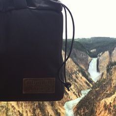 Our NW Camera Bag enjoying the Grand Canyon lower falls in yellowstone #looptravels