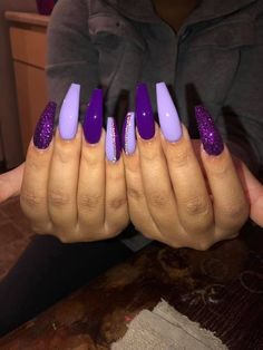 There are three kinds of fake nails which all come from the family of plastics. Acrylic nails are a liquid and powder mix. They are mixed in front of you and then they are brushed onto your nails and shaped. These nails are air dried. Purple Acrylic Nails, Best Acrylic Nails, Neon Purple Nails, Purple Stiletto Nails, Pink Acrylics, Purple Nail Designs, Acrylic Nail Designs, Nail Designs Bling, Acrylic Art