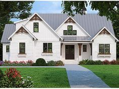 This plan is certain to fill all the items on your wish list if you're looking for updated Country-style home. A blend of painted brick, clapboard and board-and-batten sidings and multiple gables combine to give your home a warm, inviting with a casual fe