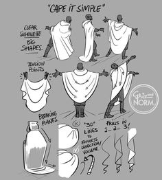 "Tuesday Tips - Cape It Simple! I don't need to add too much explanation today. A cape, cloak or long coat simplifies the silhouette of most character, gives them a unique look or presence and conceals a lot of the overall anatomy. Keep track of the character underneath to know where to fold, drop or stretch the fabric. The fabric itself should play a role too. Different behave differently. Movement and gravity are key to ""ground"" your character in the environment and make it look…"