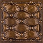 #LeatherTiles #Faux Leather Wall Panel – Vintage Gold -  these glue up ceiling tiles colored in gold or brass or even ivory color would make an awesome headboard. And so easy to install!