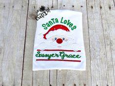 Christmas Santa Loves Shirt Girls Toddlers by CarolinaCraftIt