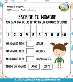 CUADERNILLO: Practico mi nombre (especial para niños de primaria) Bilingual Education, Primary Education, Special Education, Preschool Learning Activities, Writing Activities, Classroom Activities, Esl Lesson Plans, Esl Lessons, Parent Resources
