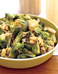 Brussels Sprouts with White Beans and Pecorino Recipe  | Epicurious.com #myplate #vegetable