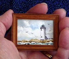 Original Miniature Painting in Watercolor - Annisquam Lighthouse - Gloucester,  MA