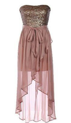 Gold & blush high low dress
