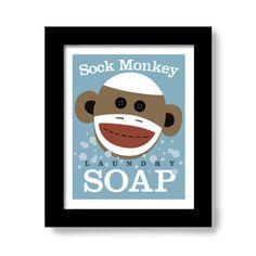 Laundry Room Decor Sock Monkey Soap Art Sign Wall Art Print