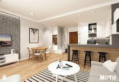 Tamka 29- I propozycja - Średni salon z barkiem z kuchnią z jadalnią, styl skandynawski - zdjęcie od MOTIF