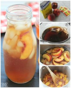 INGREDIENTS: Peach Syrup: 1 cup Sugar 1 cup Water sliced fresh Peaches Tea: 3 Tea Bags 6 cups Water DIRECTIONS: Bring syrup ingredients to boil. Then reduce heat to medium. Crush peach slices as you stir to dissolve sugar. Turn off heat cover and let Milk Shakes, Glace Fruit, Sante Bio, Healthy Drinks, Healthy Recipes, Healthy Food, Peach Ice Tea, Peach Water, Peach Green Tea