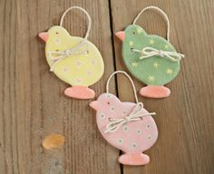 Easter Chicks Salt Dough Ornaments Tree Ornaments by BRsaltycandy