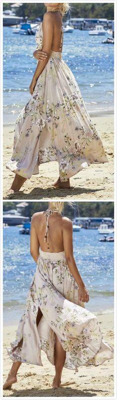 Bohemian V Neck Sleeveless Backless Floral Printed Maxi Dress