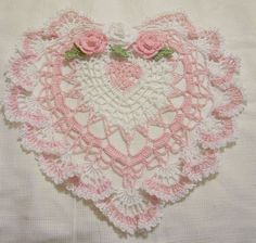 ~ Pink & White Heart Lace Crocheted Doily ~
