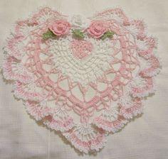 Beautiful Crochet Heart Doilie ~