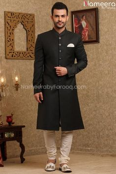 Buy Pakistani Groom Dresses-Latest Black Sherwani for Wedding Online 2021-Pakistani Groom Wear With Embroidery, Patch Work In USA, UK, Canada, Australia Visit Now : www.NameerabyFarooq.com or Call / Whatsapp : +1 732-910-5427 Groom Wear, Groom Dress, White Churidar, Mens Sherwani, Spring Fashion Trends, Western Outfits, Mandarin Collar, White Fabrics, Cotton Silk