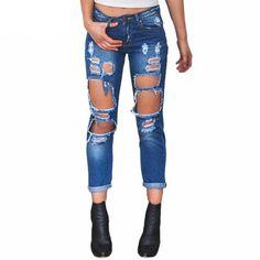 23b35cb6c6c Damen Jeans Loch Hosen Denim Skinny Pant High Waist Stretch R hrenjeans Gr  XS